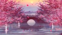 中国江南风粉色浪漫桃花绽放视频
