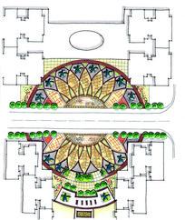 住宅区圆形广场景观设计平面图 JPG