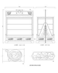 CAD清代柳木花草纹大扛箱
