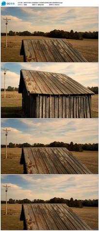 草原老房屋建筑大自然景色视频