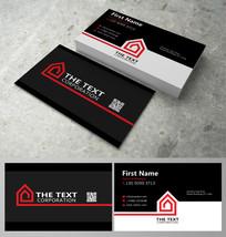 黑红卡通房子名片