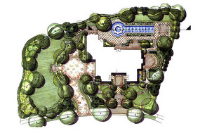 欧式别墅庭院设计彩平 JPG