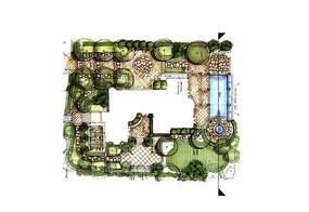 欧式风格别墅庭院景观彩平 JPG