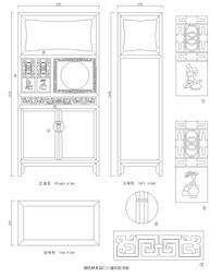 清代榉木回纹书柜CAD