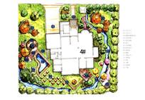 私家别墅庭院设计手绘彩平