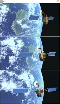 卫星围绕地球飞行实拍视频素材