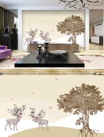 现代手绘森林麋鹿背景墙