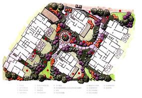 住宅区景观规划设计节手绘彩平