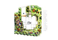 自然式别墅庭院设计手绘彩平
