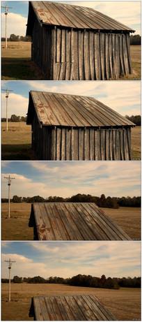空旷草原古老房屋远镜头实拍
