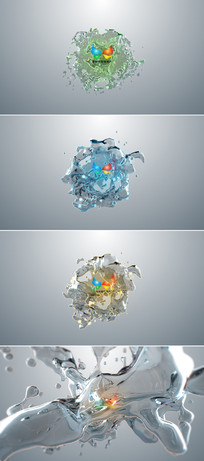 8个液体动画标志展示片头模板