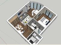 北欧小户型室内SU模型设计