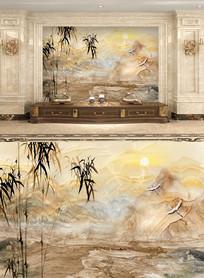大理石墨竹山水画背景墙