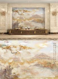 大理石山水梅花背景墙画