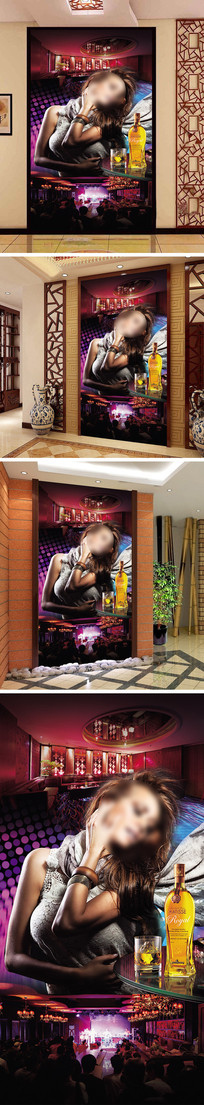 酒吧美女吧台玄关背景墙 PSD