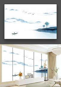 蓝色中国风禅意山水画