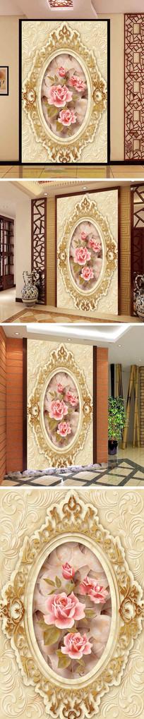 玫瑰花纹大理石纹玄关背景墙