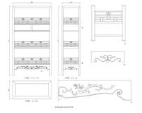 明代龙纹栏杆书架CAD