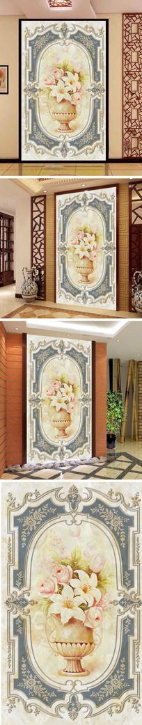 欧式百合花花纹玄关背景墙