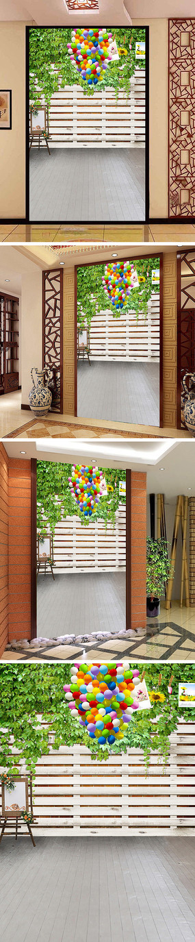 爬山虎气球画板玄关背景墙