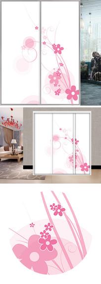 手绘花朵衣柜移门图片背景