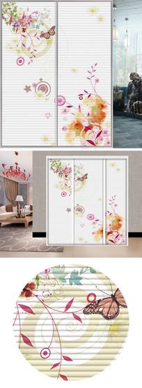 水彩花朵衣柜移门图片背景 JPG