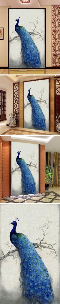 油画树枝孔雀玄关背景墙 TIF