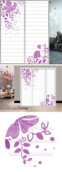 紫色花朵衣柜移门图片背景 JPG