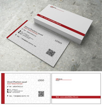 白色红条简约名片