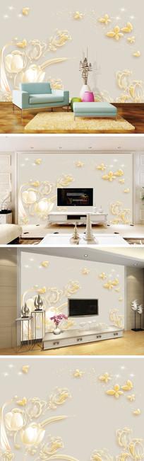 浮雕金色郁金香背景墙