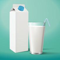 盒装牛奶和牛奶杯矢量素材