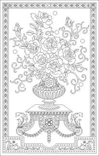 花瓶玫瑰雕刻图案 CDR