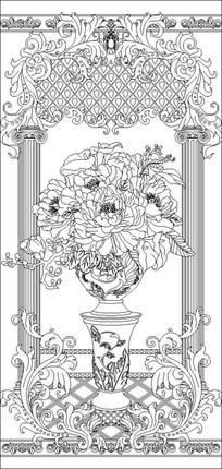 花瓶欧式花雕刻图案 CDR