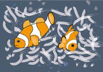 卡通小鱼插画
