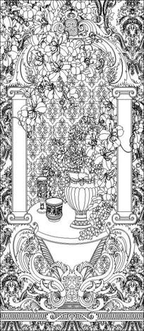 葡萄花瓶雕刻图案 CDR