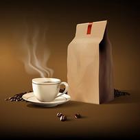 热咖啡杯与咖啡豆纸袋效果图