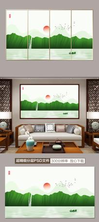 新中式水墨山水客厅装饰画