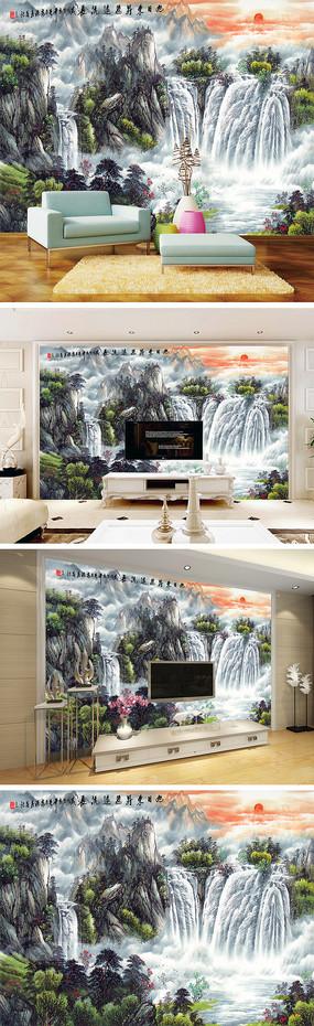 山水瀑布电视背景墙