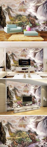 油画山水瀑布背景墙 TIF