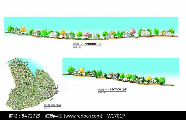 别墅区景观设计剖面图片