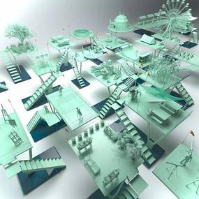 景观设计鸟瞰模型