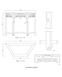 清代拐子纹扇形桌CAD图案