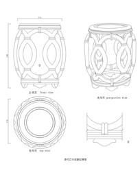 清代红木绞藤纹绣墩CAD