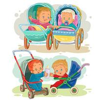婴儿推车插画设计 EPS