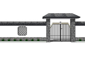 中式住宅围墙模型图片
