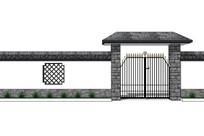 中式住宅围墙模型