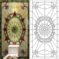 彩绘玻璃雕刻图案