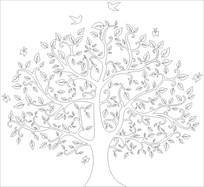 发财树雕刻图案 CDR