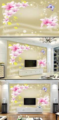 粉色百合电视背景墙