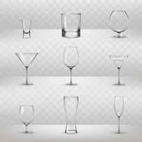 各种不同酒杯包装素材AI